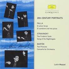 Lorin Maazel (1930-2014): 20th-Century Portraits-Falla,Bartok,Stravinsky, 2 CDs