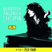 Frederic Chopin (1810-1849): Martha Argerich - The Complete Chopin-Recordings on Deutsche Grammophon (mit Blu-ray Audio), 5 CDs und 1 Blu-ray Audio