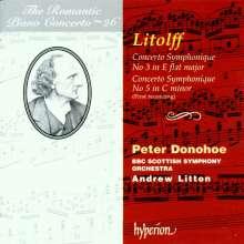 Henry Litolff (1818-1891): Concertos Symphoniques Nr.3 & 5 für Klavier & Orchester, CD