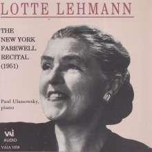 Lotte Lehmann - The New York Farewell Recital, CD