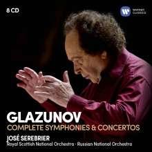 Alexander Glasunow (1865-1936): Sämtliche Symphonien & Konzerte, 8 CDs