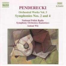 Krzysztof Penderecki (geb. 1933): Symphonien Nr.2 & 4, CD