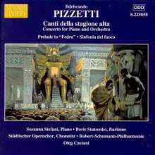 """Ildebrando Pizzetti (1880-1968): Klavierkonzert """"Canti della stagione alta"""", CD"""
