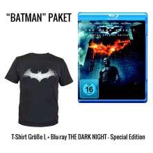 The Dark Knight (Geschenkset mit T-Shirt Batarang-Logo) (Blu-ray), 2 Blu-ray Discs und 1 T-Shirt