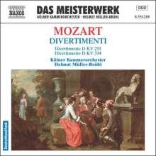 Wolfgang Amadeus Mozart (1756-1791): Divertimenti KV 251 & 334, CD