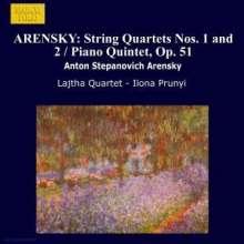 Anton Arensky (1861-1906): Streichquartette Nr.1 & 2 (op.11 & 35), CD