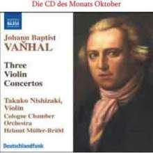 Johann Baptist (Jan Krtitel) Vanhal (1739-1813): Violinkonzerte G-Dur,G-Dur,B-Dur (Weinmann IIB:G1,G3,Bb1), CD