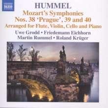 Wolfgang Amadeus Mozart (1756-1791): Symphonien Nr.38-40 für Klavier, Flöte, Violine & Cello (arrangiert von Johann Nepomuk Hummel), CD