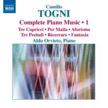 Camillo Togni (1922-1993): Sämtliche Klavierwerke Vol.1, CD