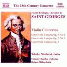 Joseph Bologne Chevalier de Saint-Georges (1745-1799): Violinkonzerte op.5 Nr.1 & 2;op.8, CD
