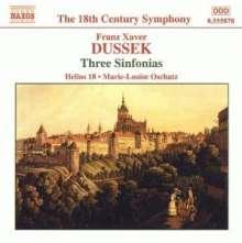 Frantisek Xaver Dussek (1731-1799): Symphonien in G,Es,F (Altner G2,Es3,F4), CD