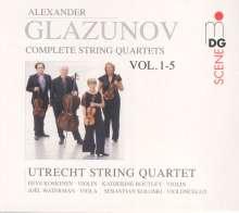Alexander Glasunow (1865-1936): Streichquartette Vol.1-5, 5 CDs
