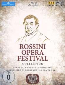 """Gioacchino Rossini (1792-1868): 4 Gesamtopern """"Rossini Opera Festival"""", 4 Blu-ray Discs"""