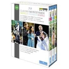 Claudio Monteverdi (1567-1643): Die 3 Opern: Orfeo; Ulisse; Poppea, 3 Blu-ray Discs