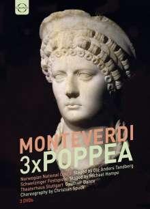 Claudio Monteverdi (1567-1643): L'incoronazione di Poppea (3 Versionen), 3 DVDs