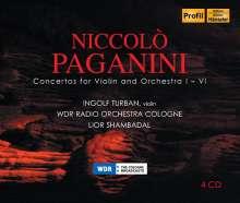 Niccolo Paganini (1782-1840): Violinkonzerte Nr.1-6, 4 CDs