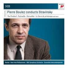 Igor Strawinsky (1882-1971): Pierre Boulez dirigiert Strawinsky, 3 CDs