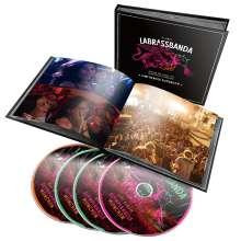 LaBrassBanda: Around The World (Live) (Limited-Fanbuch-Edition), 1 CD, 2 DVDs und 1 Blu-ray Disc