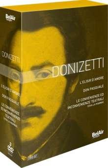 Gaetano Donizetti (1797-1848): 3 Opern-Gesamtaufnahmen auf DVD, 3 DVDs
