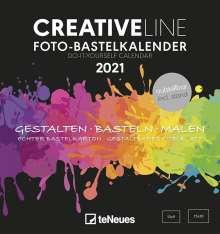 Foto-Bastelkalender schwarz 2021 - Kreativ-Kalender - DIY-Kalender - 16x17 - datiert - aufstellbar, Kalender