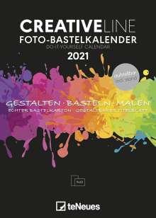 Foto-Bastelkalender schwarz 2021 - Kreativ-Kalender - DIY-Kalender - 15x21 - datiert - aufstellbar, Kalender