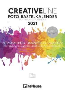 Foto-Bastelkalender weiß 2021 - Kreativ-Kalender - DIY-Kalender - 15x21 - datiert - aufstellbar, Kalender