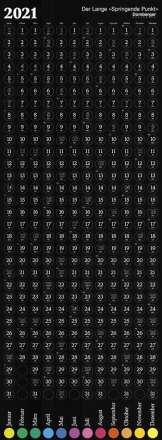 Der springende Punkt 2021 schwarz - lang, Kalender