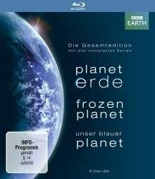 Planet Erde / Frozen Planet / Unser blauer Planet (Komplette Serien) (Blu-ray), 8 Blu-ray Discs