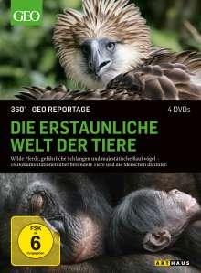 360° Geo-Reportage: Die erstaunliche Welt der Tiere, 4 DVDs
