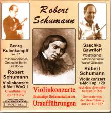 Robert Schumann (1810-1856): Violinkonzert d-moll (Uraufführung vom 26.11.1937), CD