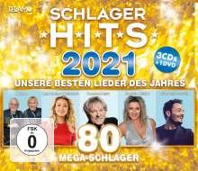 Schlager Hits 2021, 3 CDs und 1 DVD