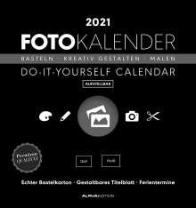Foto-Bastelkalender 2021 datiert, schwarz, Kalender