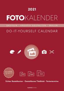 Foto-Bastelkalender 2021 datiert, rot, Kalender
