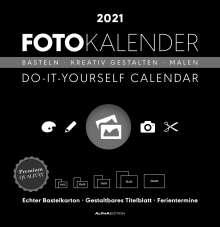 Foto-Bastelkalender 2021 groß datiert, schwarz, Kalender