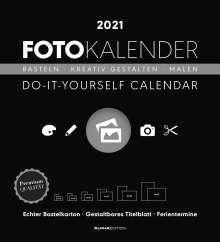 Foto-Bastelkalender schwarz XL 2021, Kalender
