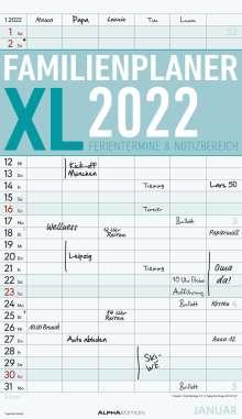 Alpha Edition: Familienplaner XL 2022 mit 6 Spalten - Familien-Timer 26x45 cm, Kalender