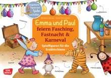 Monika Lehner: Emma und Paul feiern Fasching, Fastnacht & Karneval. Spielfiguren für die Erzählschiene., 1 Buch und 1 Diverse