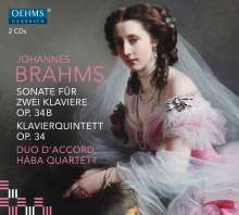 Johannes Brahms (1833-1897): Sonate für 2 Klaviere op.34, 2 CDs