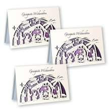 3er-Set Scherenschnitt-Karte »Gesegnete Weihnachten«, Diverse