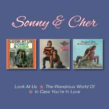 Sonny & Cher: Look At Us / The Wondrous World / In Case You're In Love +Bonus, 3 CDs