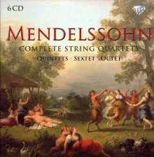 Felix Mendelssohn Bartholdy (1809-1847): Sämtliche Streichquartette, 6 CDs