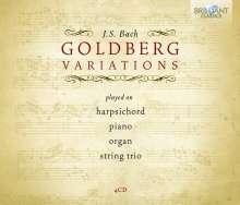 Johann Sebastian Bach (1685-1750): Goldberg-Variationen BWV 988 für Klavier/Cembalo/Orgel/Streichtrio, 4 CDs