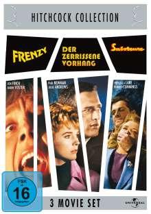 Hitchcock: Frenzy / Der zerrissene Vorhang / Saboteur, 3 DVDs