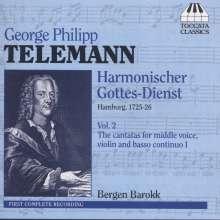 Georg Philipp Telemann (1681-1767): Harmonischer Gottesdienst Vol.2 (Kantaten für mittlere Stimme, Violine, Bc / Hamburg 1725/26), CD