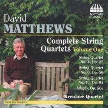David Matthews (geb. 1943): Sämtliche Streichquartette Vol.1, CD