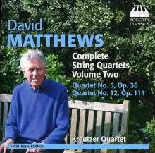 David Matthews (geb. 1943): Sämtliche Streichquartette Vol.2, CD