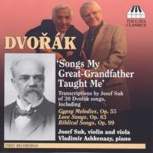 Josef Suk (1874-1935): Dvorak-Liedtranskriptionen für Violine/Viola & Klavier, CD