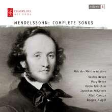 Felix Mendelssohn Bartholdy (1809-1847): Lieder Vol.1, CD