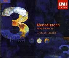 Felix Mendelssohn Bartholdy (1809-1847): Streichquartette Nr.1-6, 3 CDs
