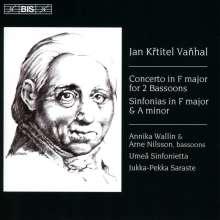 Johann Baptist (Jan Krtitel) Vanhal (1739-1813): Konzert für 2 Fagotte & Orchester F-Dur, CD